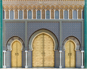 Bab Dar Lmakhzen or the Royal Palace Gate in Fes, Morocco