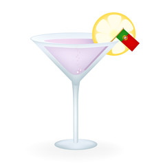 Cocktail Glass With A Flag Of Portugal