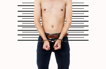 man in mugshot or police lineup background