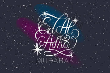 "Stars with hand sketched text ""Eid Al Adha"""