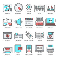 Abstract vector set of line color icons for technology and culture. Modern style illustrations and design elements for multimedia devices and electronic services.