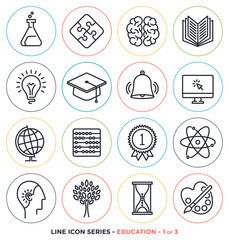 Education & learning line icons set. Vector collection of teaching symbols & educational equipments.