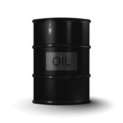 Vector illustration of black metal oil barrel on white backgroun
