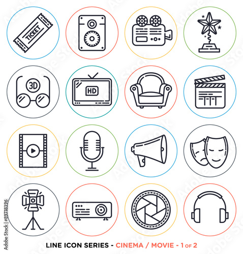 Cinema And Movie Line Icons Set Vector Collection Of Entertainment