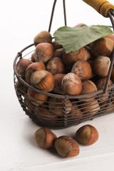 hazelnuts in basket