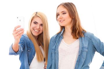 Two female friends making a selfie