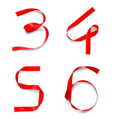 Set of numbers from the ribbons. Vector illustration isolated on a white background. The second part