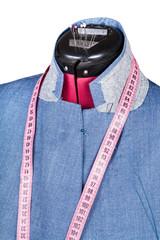 tailoring of man silk jacket on dummy isolated