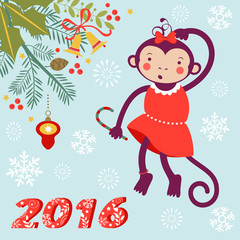 Cute card with cute funny monkey character - symbol of new 2016