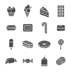 Set of black icons in the style of the flat. Collection of sweet desserts. Vector illustration.