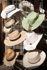 Straw hats on display in Santa Fe, New Mexico