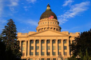 Closeup of Utah State Capitol with warm evening light, Salt Lake