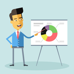 Handsome asian manager gives a presentation and shows a diagram Cartoon character - asian businessman Suit and tie Report, training Stock vector illustration style flat