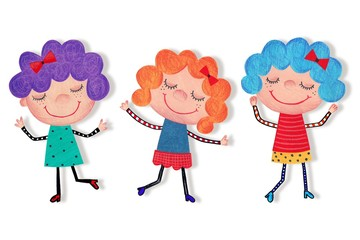 Girls. Cartoon characters. Watercolors on paper