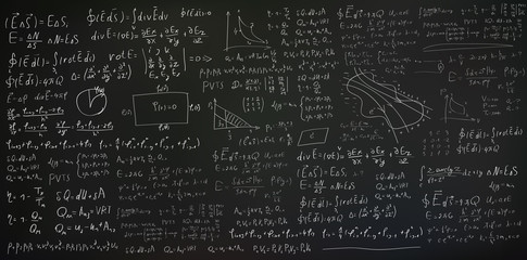 Handwritten formulas and equations on black background