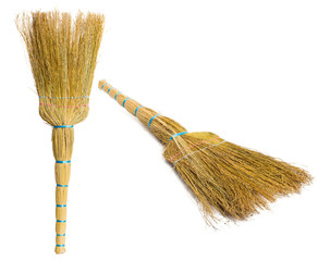 Set Brooms isolated on white background