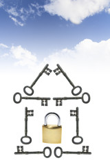Composite of Clouds with Keys and Padlock