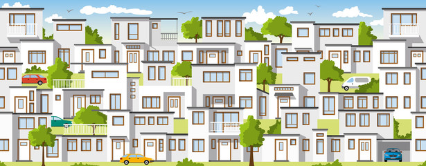 Wall Mural - Modern colorful houses, also usable as a continuous background