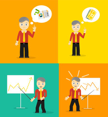Set of cute cartoon young businessmen. Idea concept and finance