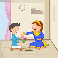 Brother and Sister in Raksha Bandhan