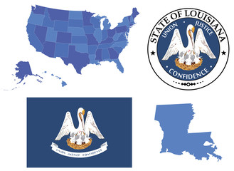 Vector Illustration of state Louisiana contains: High detailed map of USA High detailed flag of state Louisiana High detailed great seal of state Louisiana State Louisiana, shape