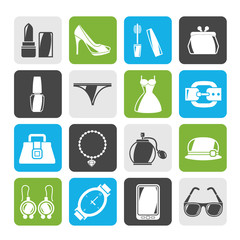Silhouette Female Fashion objects and accessories icons- vector icon set