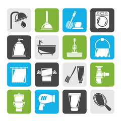 Silhouette Bathroom and hygiene objects icons -vector icon set