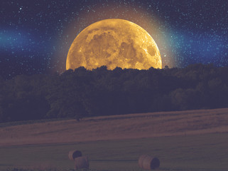 Countryside landscape with Moonlight.