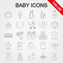 Collection of cute baby icons.