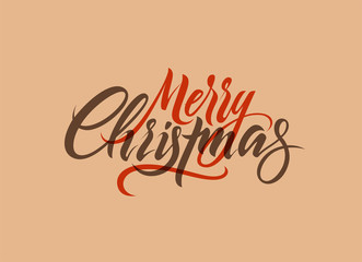 Merry Christmas. Calligraphic retro Christmas greeting card design. Vector illustration.