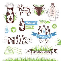 Milk icons, labels and design elements