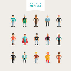 Set of Flat Design Professional People Characters. Men Set. Sailor, Cowboy, Stylist, Policeman, Clown, Painter, Cook, Spy, Superman, Doctor, Worker