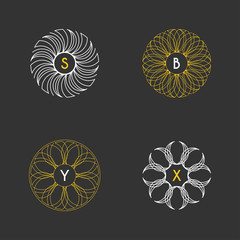 Set of Vector Floral Monogram Design Templates