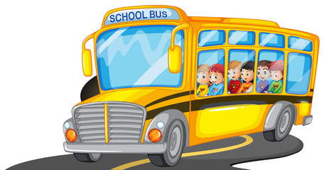 Boys and girls riding in school bus