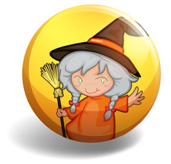 Witch with a broom on yellow badge