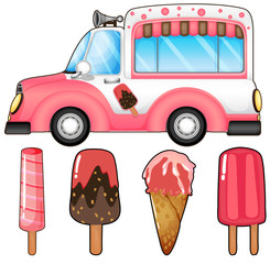 Ice cream truck and many ice cream