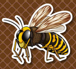 Bee flying on brown background