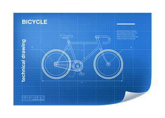 Technical wireframe Illustration with bicycle drawing