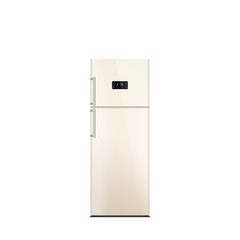 Shiny beige refrigerator isolated on white. Glossy finish. Fridge freezer. The external LED display, with blue glow. Satin chrome handles. Top freezer.