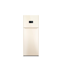 Shiny beige refrigerator isolated on white. Glossy finish. Fridge freezer. The external LED display, with blue glow. Top freezer.
