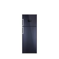 Shiny black refrigerator isolated on white. Glossy finish. Fridge freezer. The external LED display, with blue glow. Satin chrome handles. Top freezer.