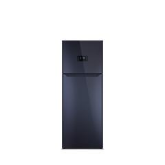 Shiny black refrigerator isolated on white. Glossy finish. Fridge freezer. The external LED display, with blue glow. Top freezer.