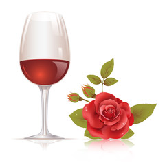 Wine glass and red rose