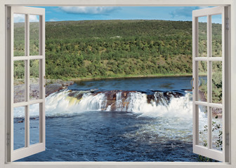 Open window view to wide waterfall and river