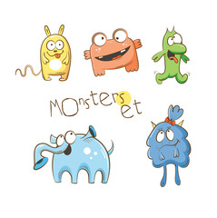 Vector set with cute cartoon monsters.