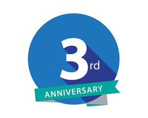 3 Anniversary Blue Circle Logo