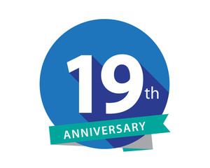 19 Anniversary Blue Circle Logo