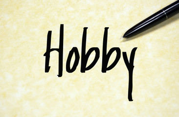 hobby word write on paper
