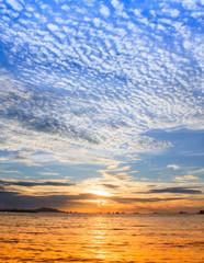 Beautiful sunset with blue sky