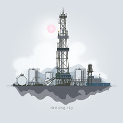 Drilling Rig in the Background of Mountains, Oil Rig, Oil Well Drilling, Oil or Natural Gas Drilling Rigs with Outbuildings and Tanks and Cisterns , Vector Illustration